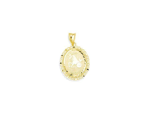 14k Yellow Gold Zodiac Capricorn Astrology Pendant