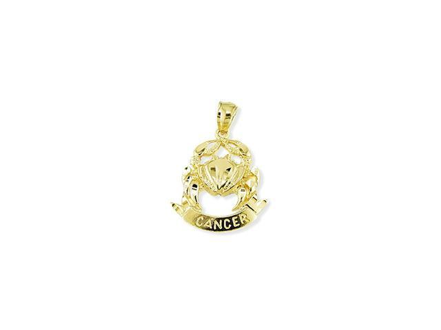 14k Yellow Gold Zodiac Sign Cancer Astrology Pendant