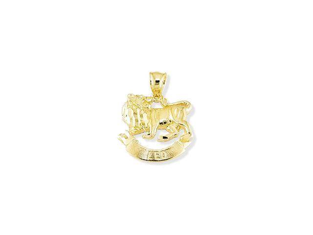14k Yellow Gold Leo Lion Zodiac Sign Charm Pendant