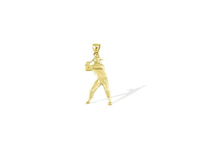 14k Solid Gold Baseball Batter Player Sports Pendant