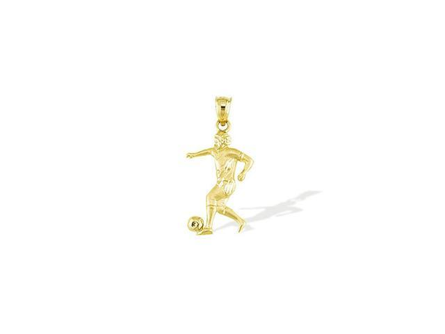 Mens 14k Yellow Gold Soccer Player Ball Sports Pendant