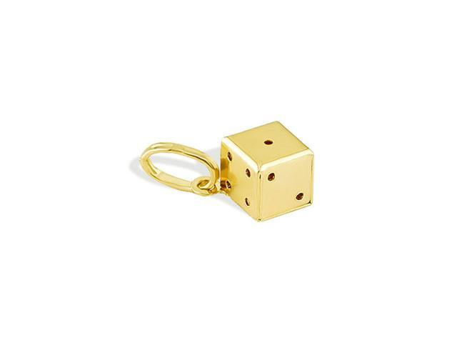 Solid 14k Italian Yellow Gold Lucky Single Dice Pendant