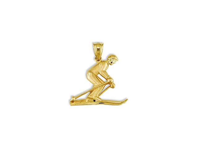 Solid 14k Yellow Gold Snow Skier Winter Sports Pendant