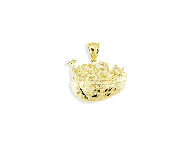 Solid 14k Yellow Gold Noahs Ark Diamond Cut Pendant