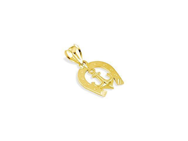 14k Yellow Gold Horseshoe Anchor Lucky Charm Pendant