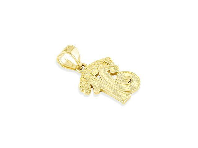 Solid 14k Yellow Gold Sweet 16 Teenager Charm Pendant