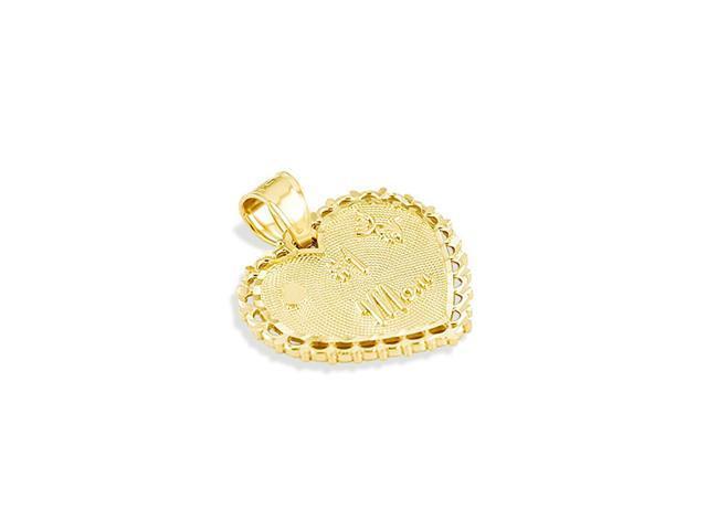 Solid 14k Yellow Gold #1 Mom Love Heart Flower Pendant
