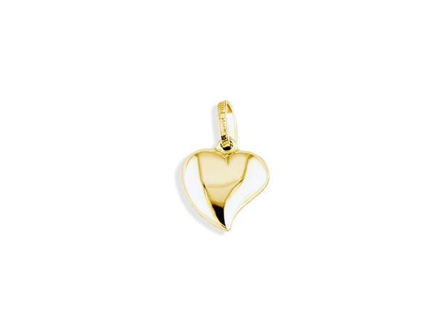 14k Yellow Gold Italian Love Puffy Swirl Heart Pendant