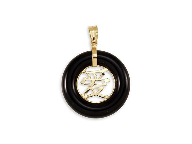 Solid 14k Gold Chinese Love Round Black Onyx Pendant