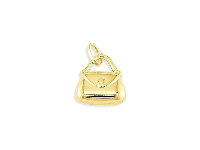Solid 14k Yellow Gold Hand Bag Purse Italian Pendant