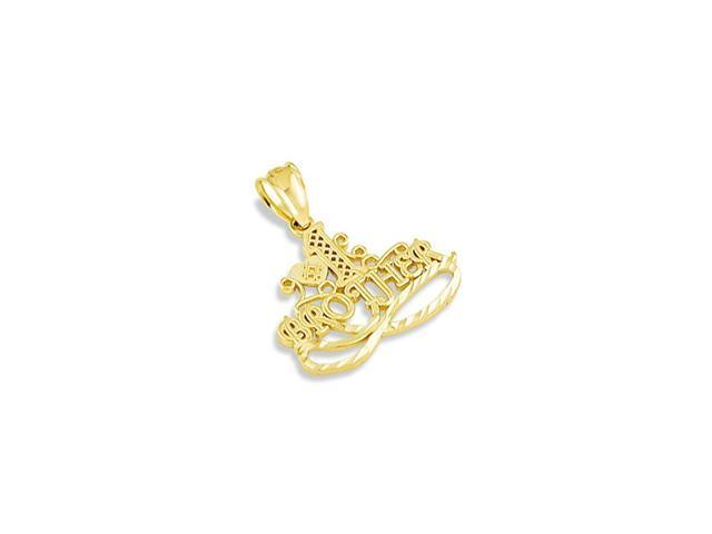 Mens 14k Yellow Gold #1 Brother Heart Love Pendant