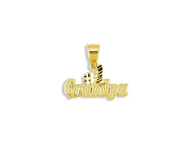 Mens 14k Yellow Gold #1 Grandpa Diamond Cut Pendant
