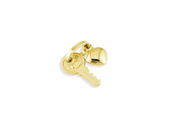 Solid 14k Yellow Gold Key Heart Love Fashion Pendant