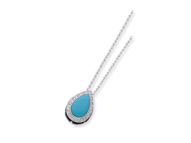 925 Sterling Silver White CZ Turquoise Pear Necklace