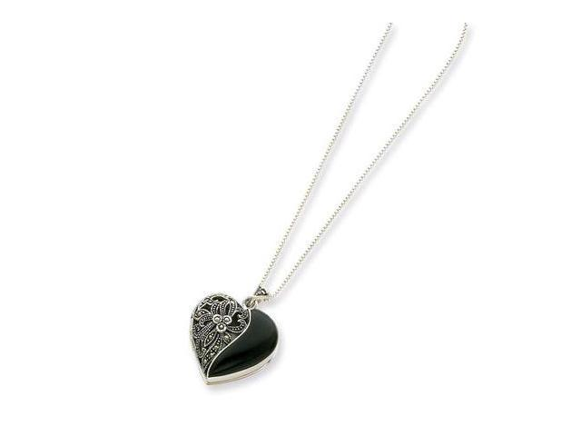 925 Sterling Silver Black Onyx Marcasite Heart Necklace