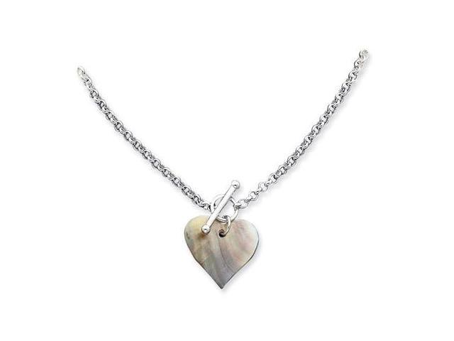 925 Sterling Silver Mother of Pearl Heart Necklace