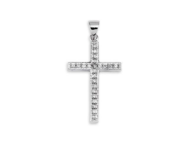 Solid 14k White Gold Round Cut Diamond Cross Pendant