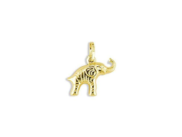 14k Yellow Gold Puffy Lucky Elephant Italian Pendant