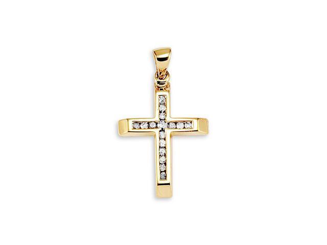 Religious Cross 14k Yellow Gold Round Diamond Pendant