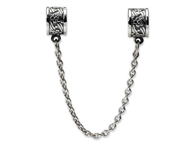 925 Sterling Silver Charm Floral Security Chain Bead