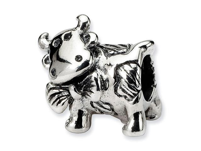 "Solid 925 Sterling Silver 1/2"" Dairy Cow Jewelry Bead"
