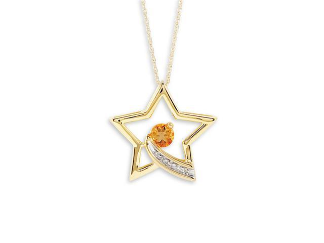New 10k Yellow Gold Round Citrine Diamond Star Necklace