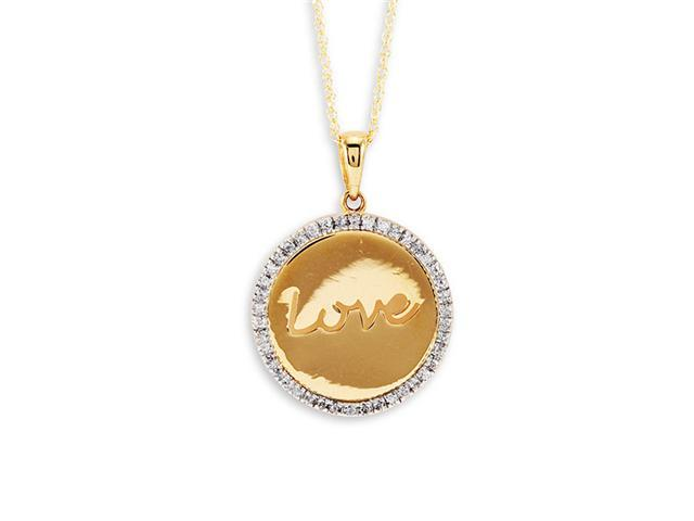 "14k Yellow Gold Round Diamond ""Love"" Pendant Necklace"
