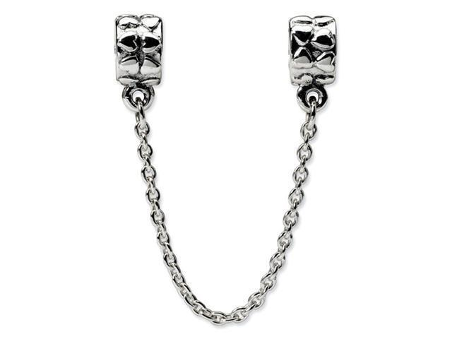 925 Sterling Silver Security Chain Hearts Charm Bead
