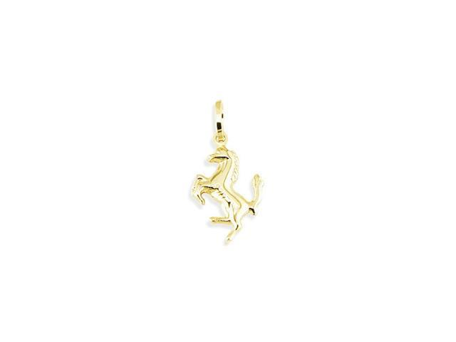 Solid 14k Yellow Gold Stallion Horse Equestrian Pendant