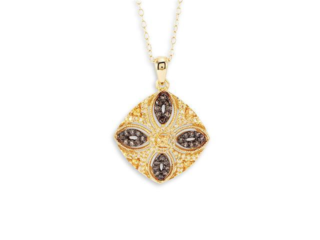 14k Solid Yellow Gold Citrine Round Pendant Necklace
