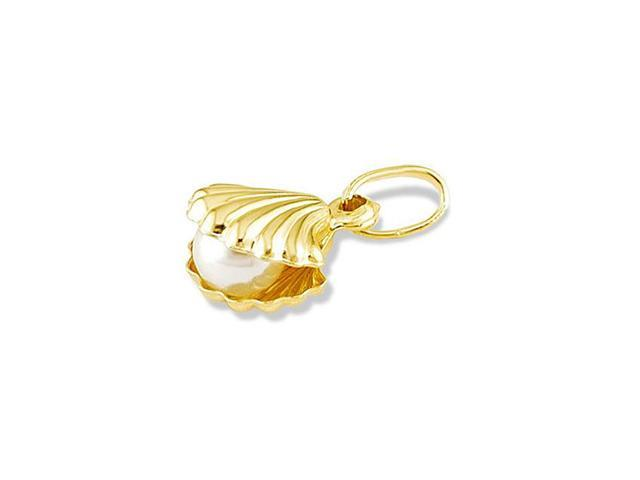 14k Yellow Gold White Pearl Sea Shell Italian Pendant