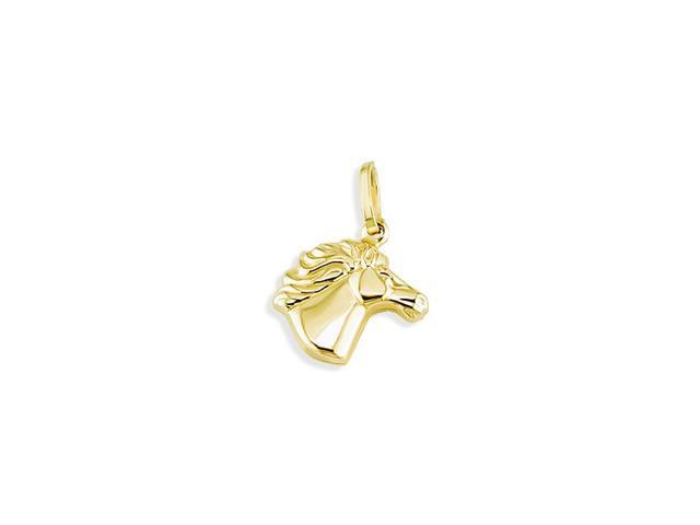 Solid 14k Yellow Gold Puffy Polished Horse Head Pendant