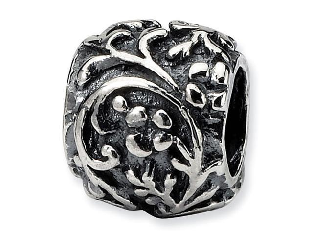 """925 Sterling Silver Floral Vines Dots 3/8"""" Charm Bead"""