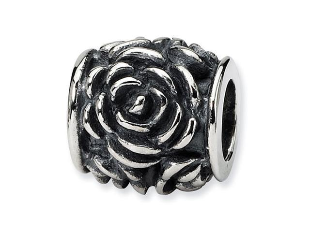 "925 Sterling Silver 3/8"" Open Rose Flower Charm Bead"