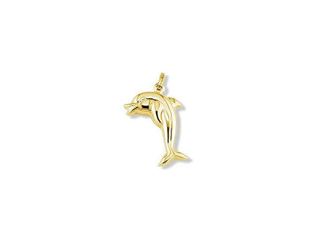 14k Yellow Gold Italian Puffy Jumping Dolphin Pendant