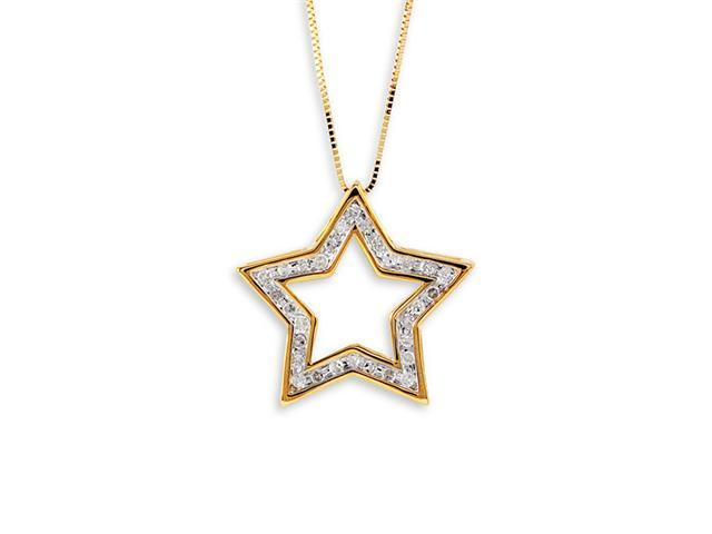 New 10k Yellow Gold Round Diamond Cut Out Star Necklace