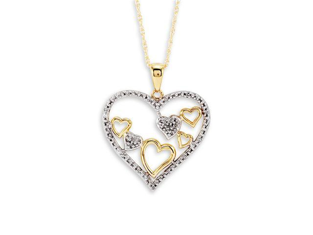 10k Yellow Gold Multi Heart Diamond Pendant Necklace