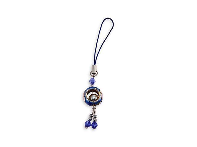 Dark Blue Cloisonne Bead Enamel Phone Bag Dangle Charm