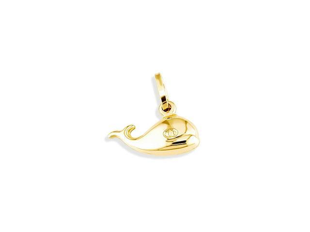 14k Yellow Gold Puffy Blue Type Whale Charm Pendant