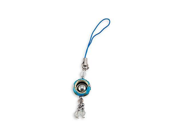 Light Blue Cloisonne Bead Enamel Phone Bag Dangle Charm