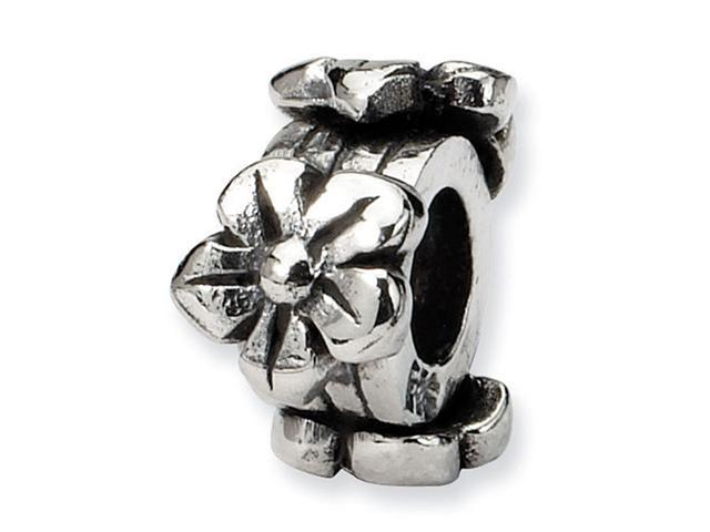 """925 Sterling Silver 3/16"""" Kids Child Flowers Charm Bead"""
