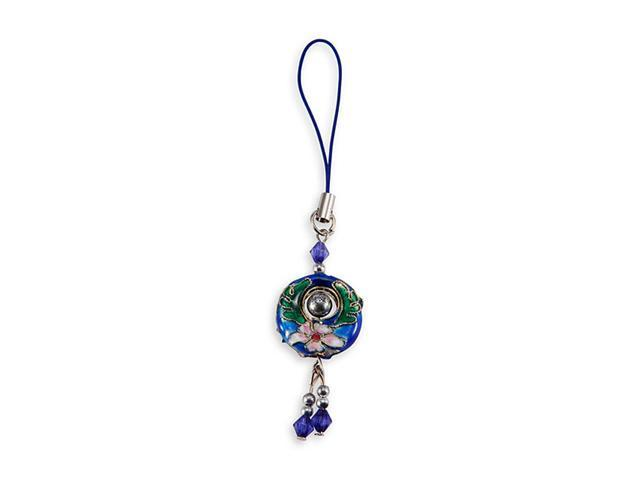 Blue Cloisonne Bead Enamel Round Bag Phone Purse Charm