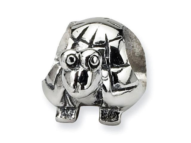 "925 Sterling Silver 1/4"" Kids Turtle Jewelry Charm Bead"