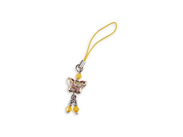 Yellow Butterfly Cloisonne Bead Phone Purse Bag Charm