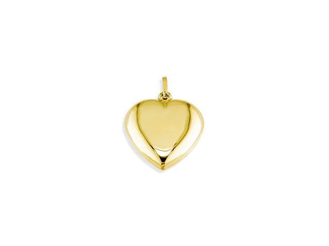 Solid 14k Yellow Gold Puffy Polished Heart Love Pendant