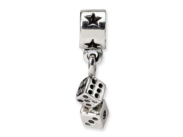 925 Sterling Silver Kids Dice Stars Charm Dangle Bead