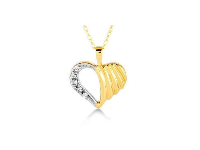 14k Yellow Gold Round Diamond Heart Pendant Necklace