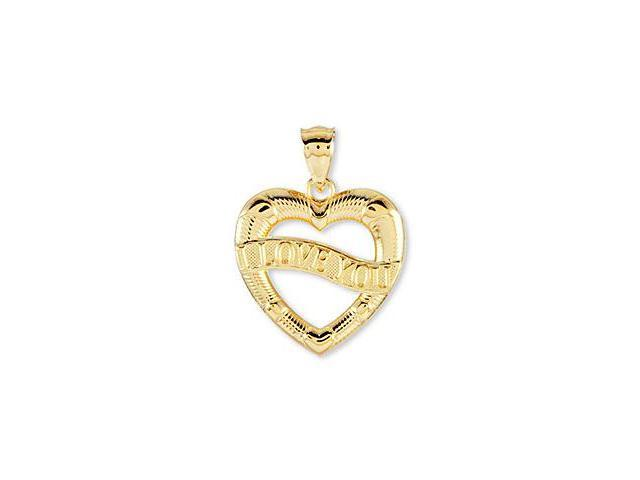 Solid 14k Yellow Gold Classic I Love You Heart Pendant
