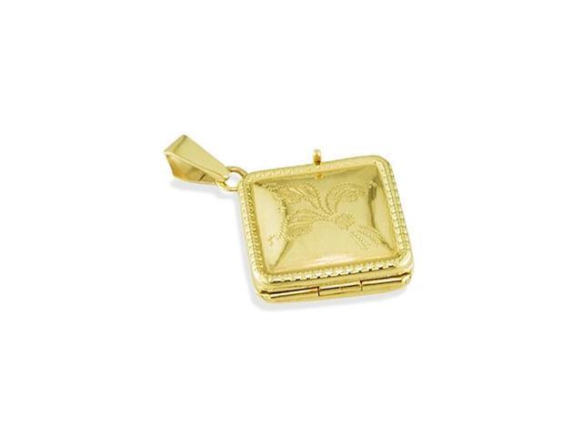 14k Italian Yellow Gold Flower Scroll Locket Pendant