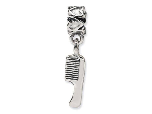 925 Sterling Silver Kids Comb Hearts Dangle Charm Bead